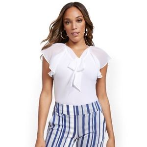 NWT NY&C Flutter Sleeve Tie-Front Top - 7th Avenue